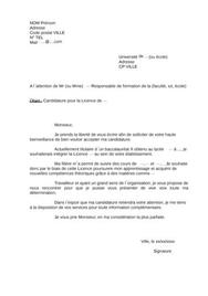 Lettre de motivation université licence