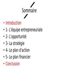 "Projet "" exemple de business plan """
