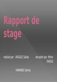 Rapport de stage et plan du rapport de stage