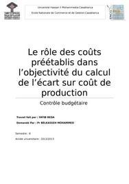Le rôle des coûts préétablis dans l'objectivité de calcul des coûts