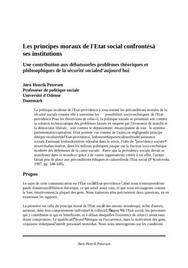 Les principes moraux de l'etat social confrontés à