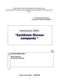 Essai d'une analyse du systeme fiscal