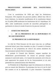 Présentation sommaire des institutions francaises