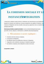 La Cohésion Sociale et les Instances d'Intégration : Cours Terminale ES