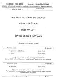 Sujet Français Brevet Pondichéry 2013