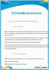 L'Union Européenne : Fiche de Révision Brevet