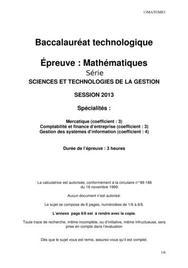 Sujet Maths Bac STG 2013