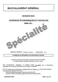 Sujet de SES spécialité Bac ES 2013
