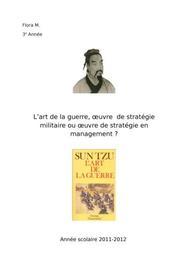 L'art de la guerre, œuvre  de stratégie militaire ou œuvre de stratégie en management ?