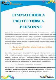 L'Immatériel et la Protection de la Personne : Cours de Droit BTS