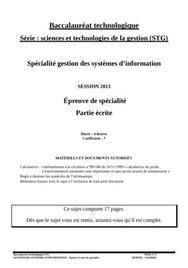 Sujet GSI STG : Gestion Système d'Information