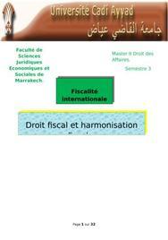 Droit fiscal et harmonisation fiscale
