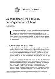 La crise financière : causes, conséquences, solutions