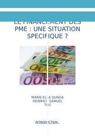 Le financement des pme : une situation spécifique?