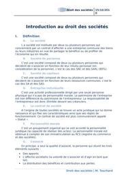 Introduction au droit des sociétés