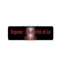 Exposé : l'autorité et le pouvoir