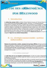 L'âge d'or d'Hollywood : Cours Terminale L