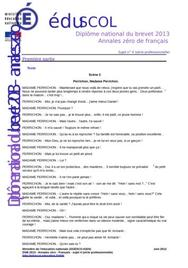 Sujet 0 Brevet Français 2013 : Exemple n° 2 (Professionnelle)