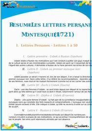 Résumé Les Lettres Persanes de Montesquieu - ES - L
