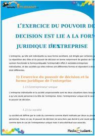 Le Pouvoir de Décision lié à la Forme Juridique de l'Entreprise : Cours Droit Terminale STG