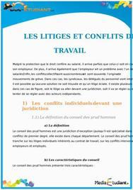 Les Litiges et Conflits de Travail : Cours Droit Terminale STG