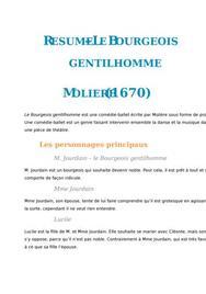 Résumé Le Bourgeois gentilhomme, Molière (fiche de lecture)
