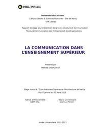 Rapport de stage : la communication dans l'enseignement supérieur