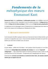 Fiche de lecture : Fondements de la métaphysique des moeurs, Emmanuel Kant