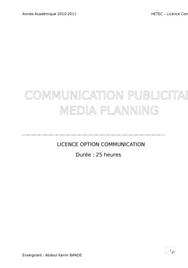 Communication publicitaire et media planning
