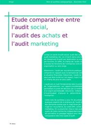 Etude comparative entre l'audit social, l'audit des achats et l'audit marketing