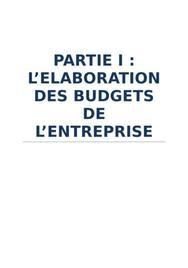 Elaboration des budgets