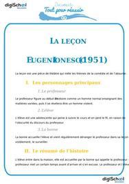 Fiche de lecture : La leçon d'Eugène Ionesco