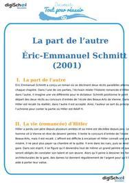 Fiche de lecture : La part de l'autre d'Eric-Emmanuel Schimtt
