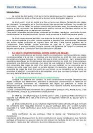 Droit constitutionnel - Les bases