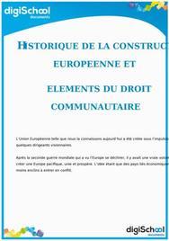 Historique de la construction européenne et éléments du droit communautaire