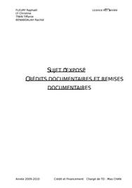 Crédits documentaires et remises documentaires