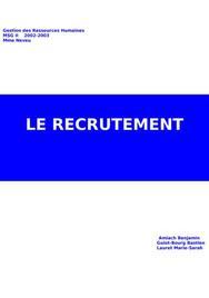 Le recrutement : processus et techniques