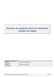 Structure du capital et calcul du coût moyen pondéré du capital