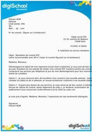 Lettre de résiliation contrat EDF