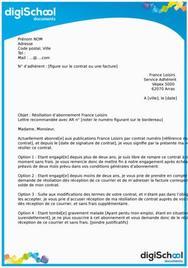 Lettre de résiliation abonnement France Loisirs