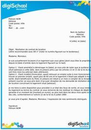 Lettre de résiliation d'un contrat de location
