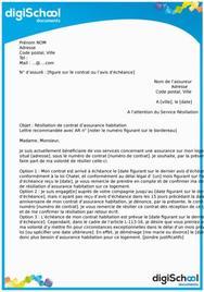 Lettre de résiliation d'un contrat d'assurance habitation
