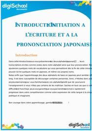 Introduction au Japonais : Initiation à l'écriture et à la prononciation Japonaises