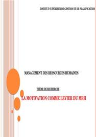 La motivation comme levier du management des ressources humaines
