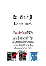 Requêtes SQL et exercices corrigés
