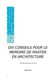 10 conseils pour un mémoire en architecture