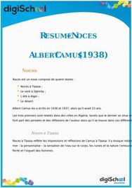 Fiche de lecture d'Albert Camus : Noces