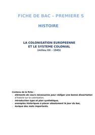 La colonisation européenne et le système colonial (fiche de bac histoire - 1ières)