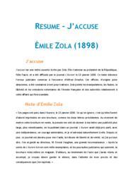 Doc - fiche de lecture J'accuse, Zola