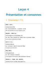 Doc - Lecon 4 présentation et consonnes chinois